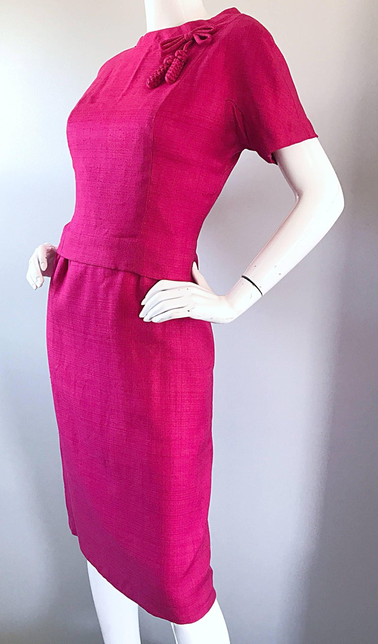 Chic 1960s Demi Couture Raspeberry Pink Silk Shift Dress and Top Vintage 60s Set 4