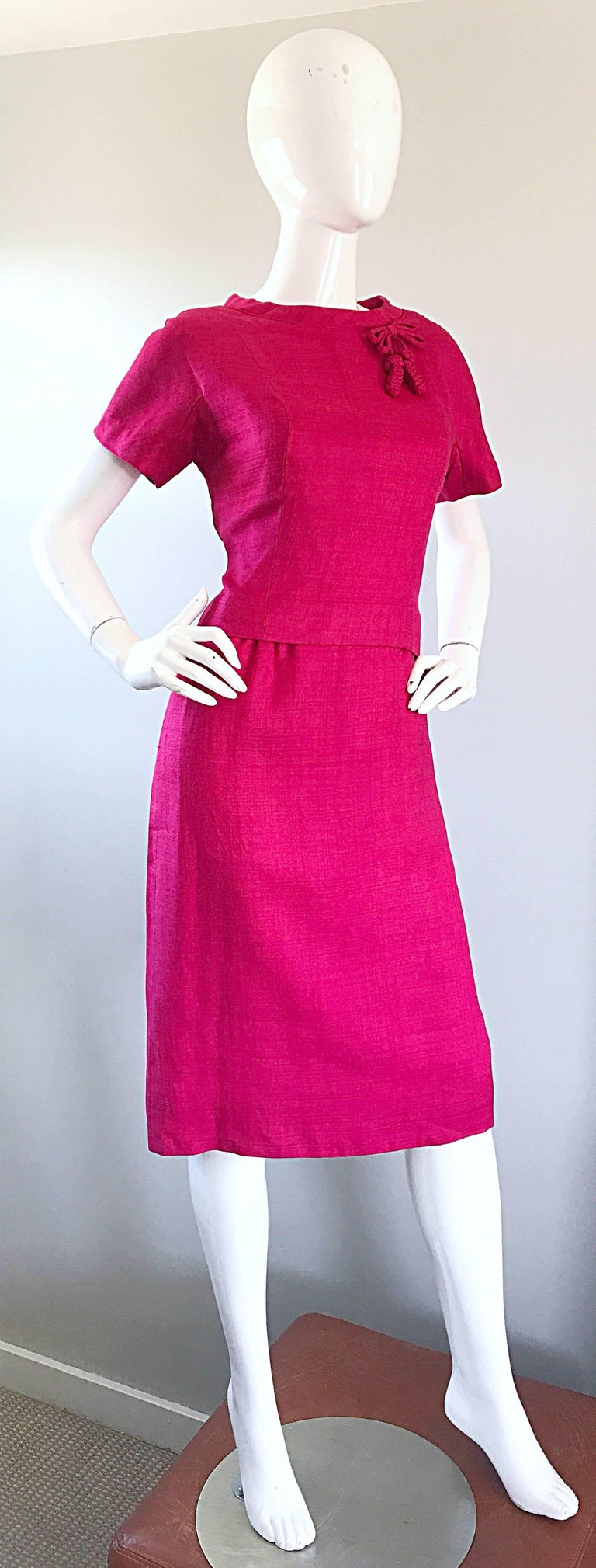 Chic 1960s Demi Couture Raspeberry Pink Silk Shift Dress and Top Vintage 60s Set 5