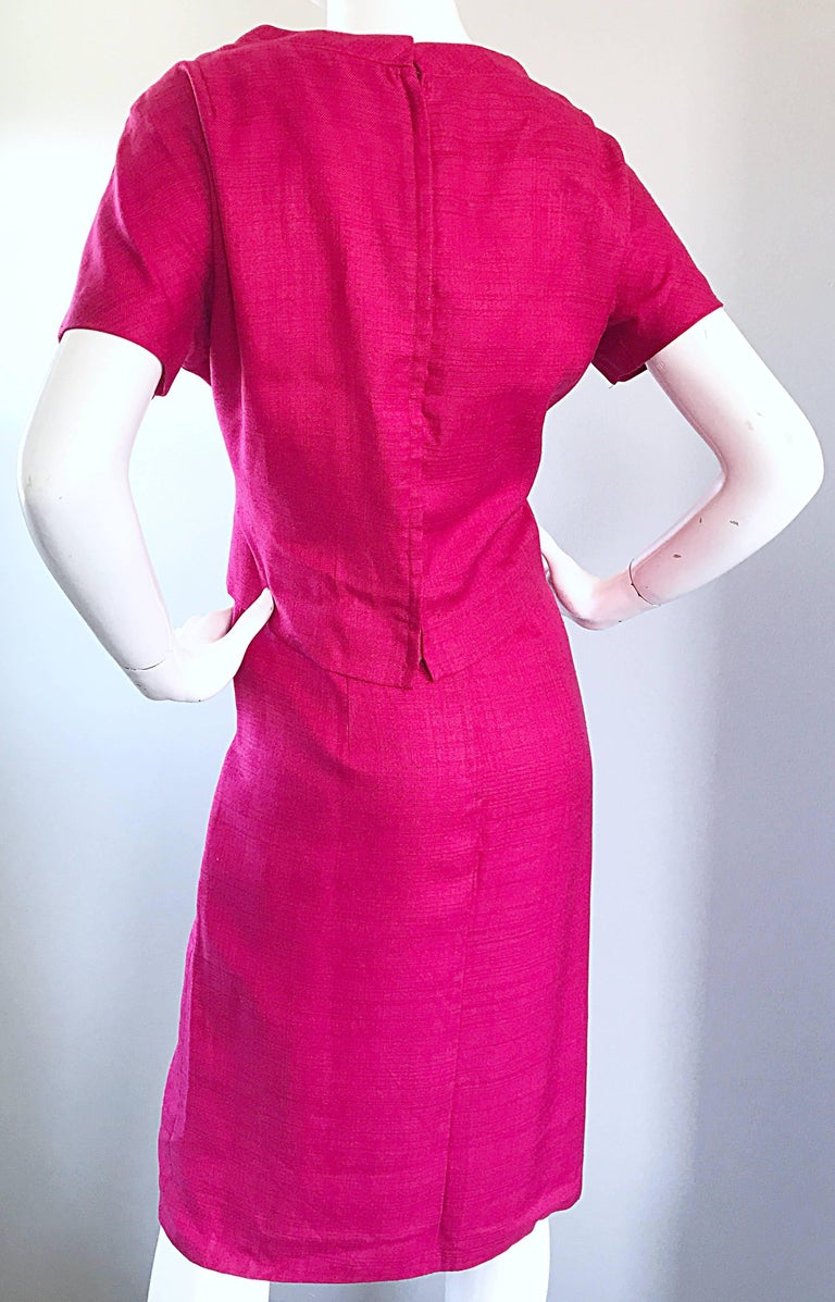 Chic 1960s Demi Couture Raspeberry Pink Silk Shift Dress and Top Vintage 60s Set 6