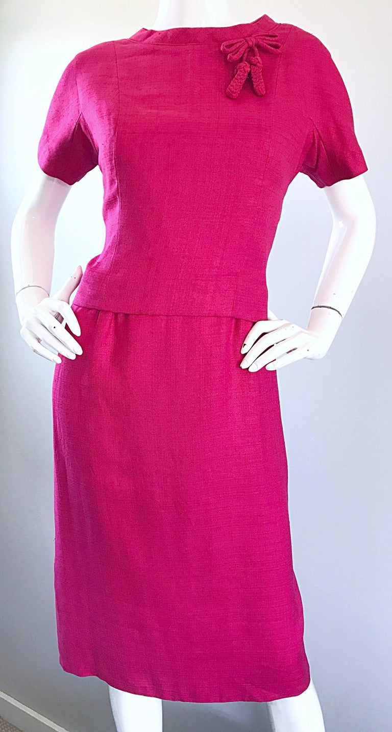 Chic 1960s Demi Couture Raspeberry Pink Silk Shift Dress and Top Vintage 60s Set 7