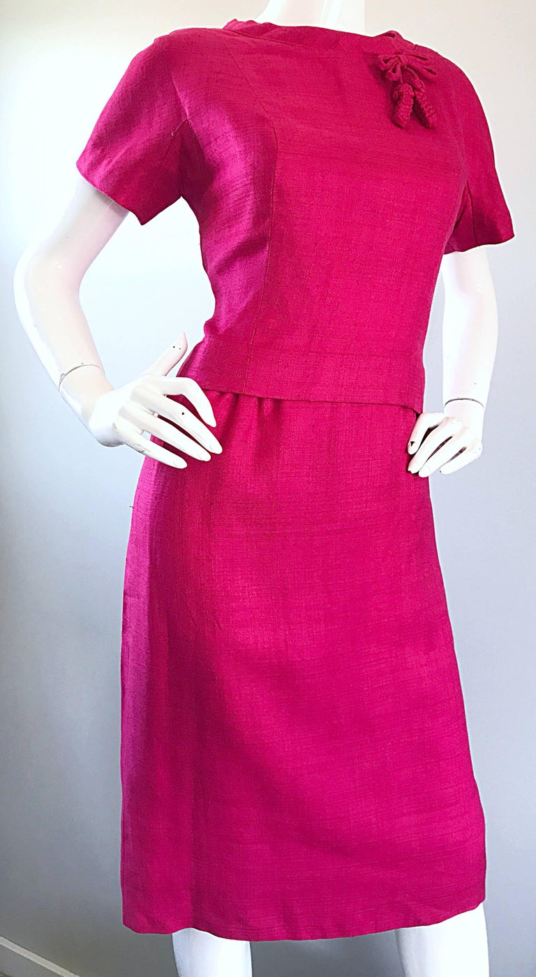 Chic 1960s Demi Couture Raspeberry Pink Silk Shift Dress and Top Vintage 60s Set 8