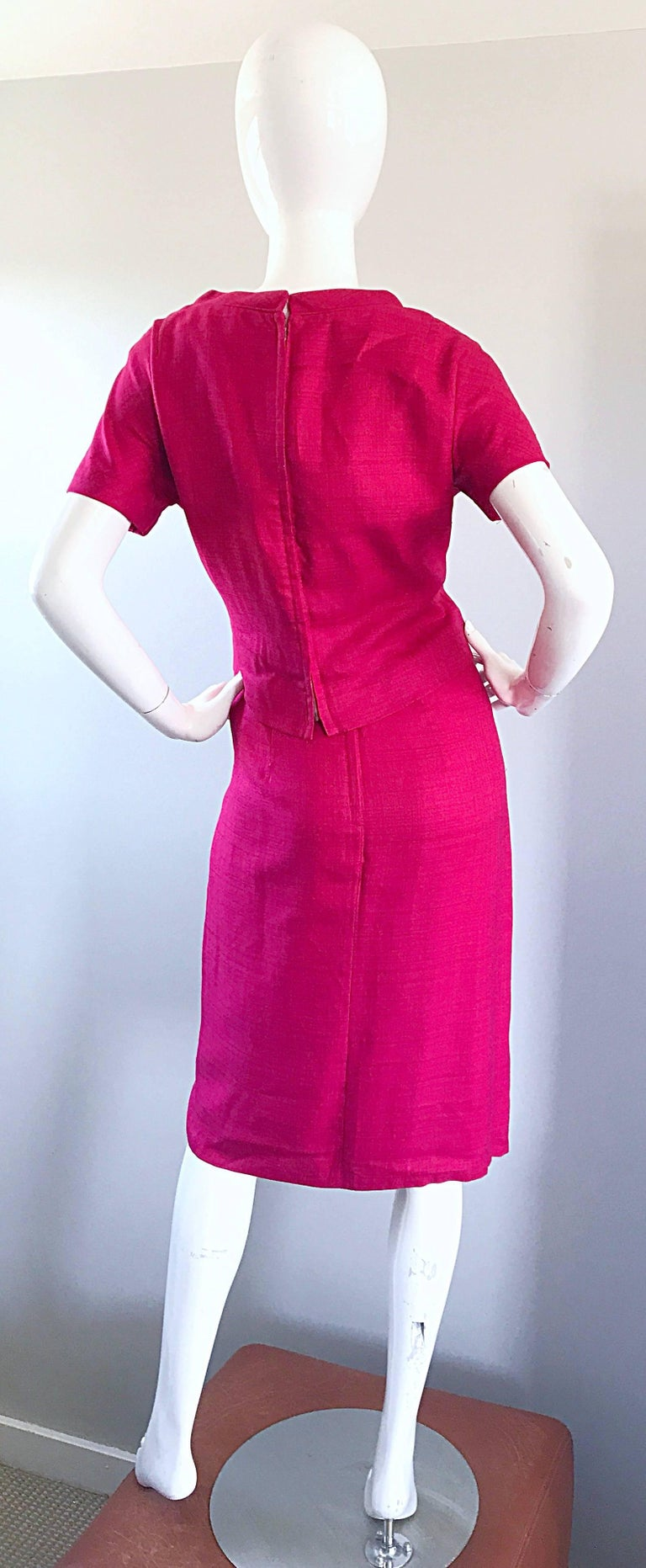 Chic 1960s Demi Couture Raspeberry Pink Silk Shift Dress and Top Vintage 60s Set 9