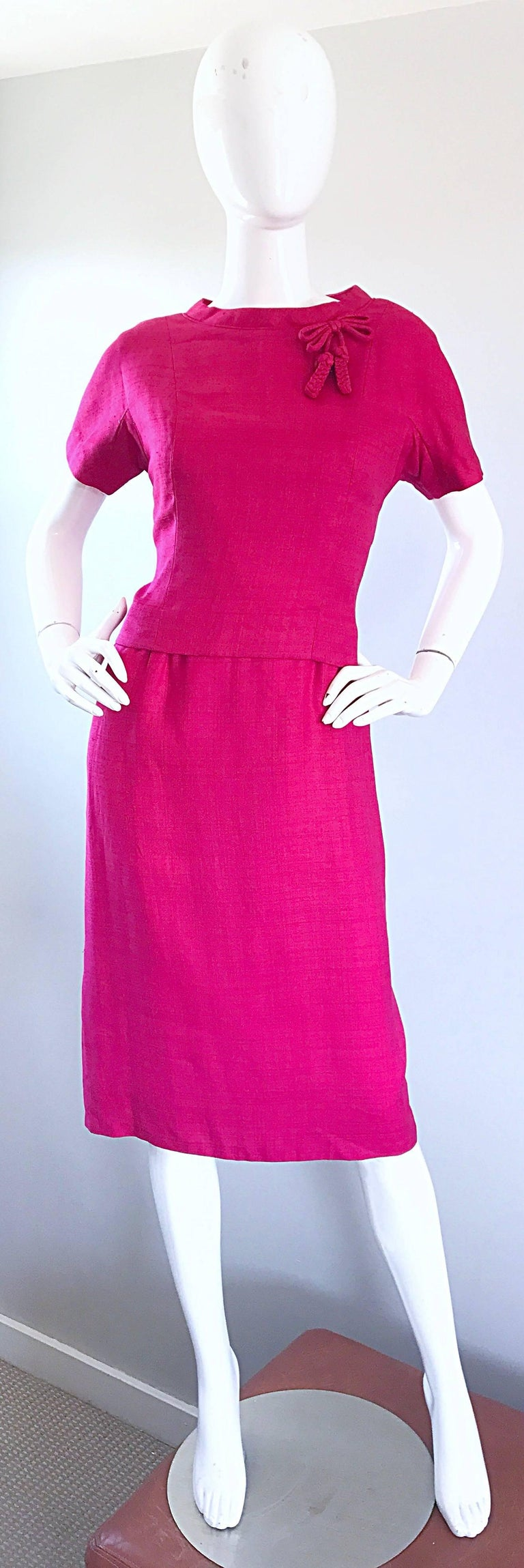 Chic 1960s Demi Couture Raspeberry Pink Silk Shift Dress and Top Vintage 60s Set 10