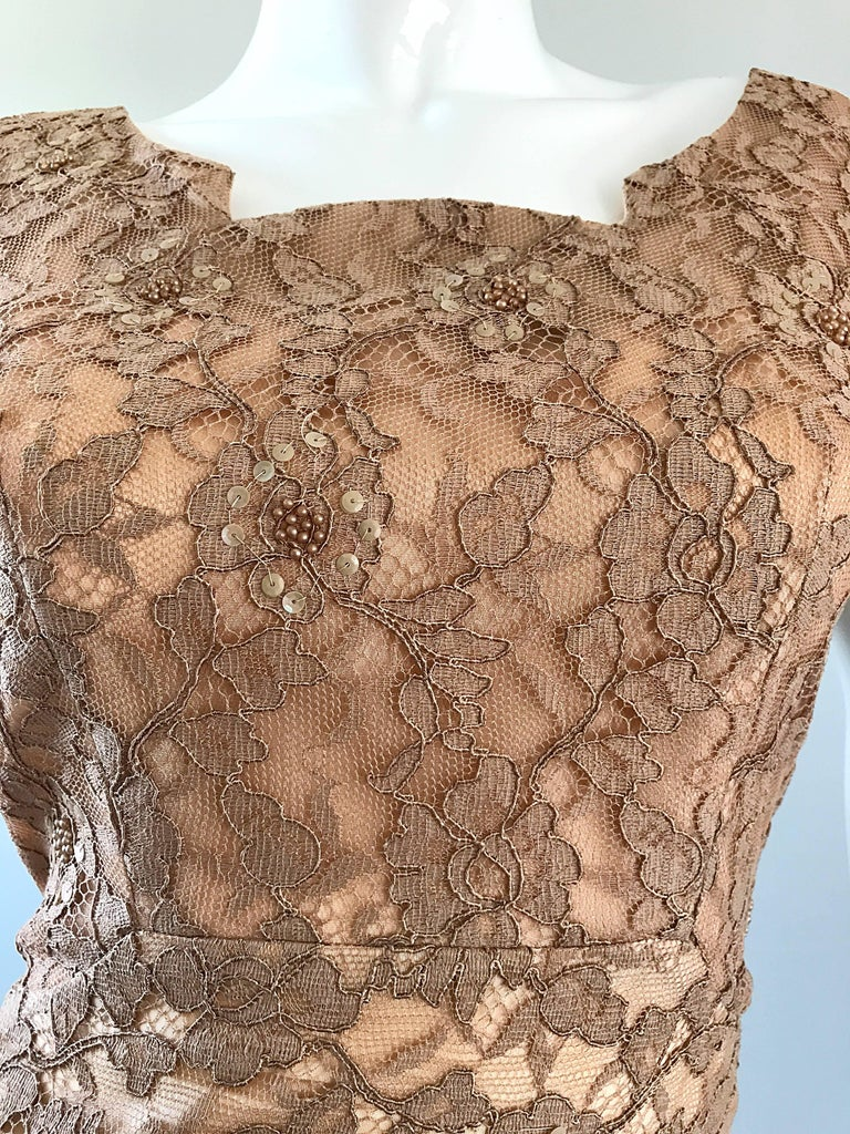 Gorgeous 1950s Demi Couture Tan Beige Nude Silk Lace Sequins 50s Vintage Dress In Excellent Condition In Chicago, IL