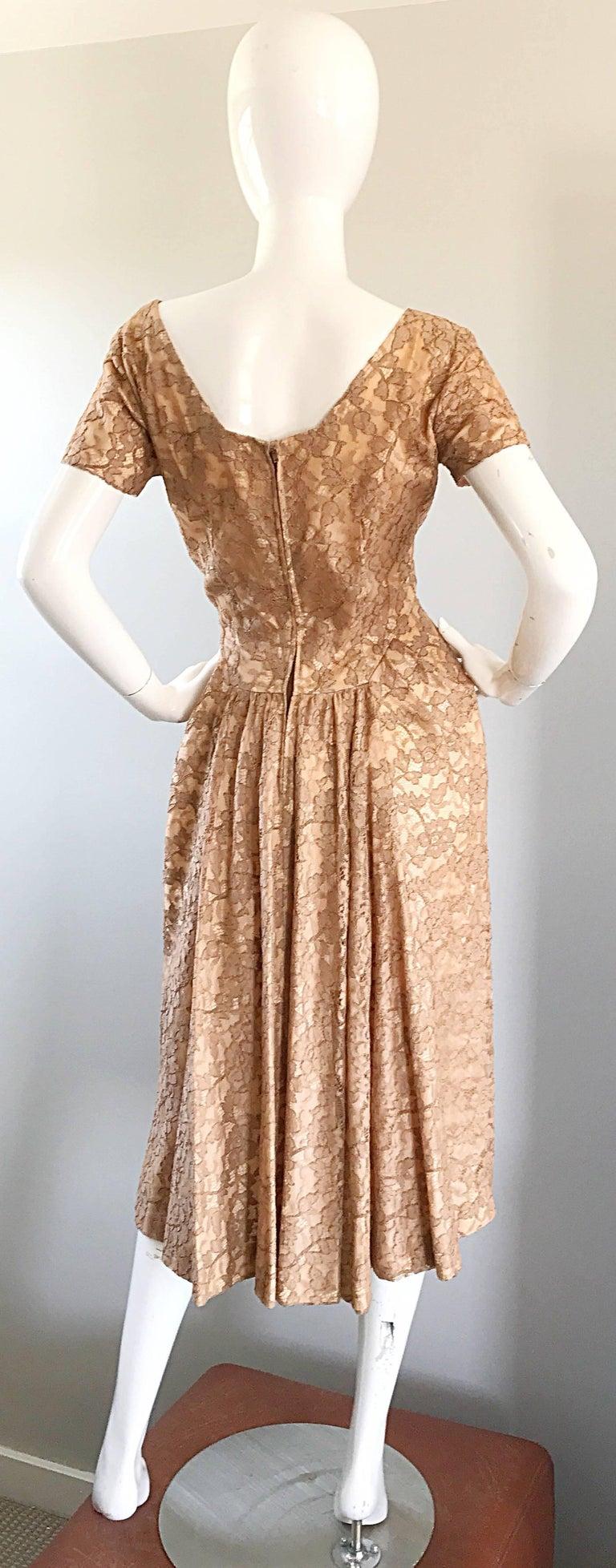 Women's Gorgeous 1950s Demi Couture Tan Beige Nude Silk Lace Sequins 50s Vintage Dress
