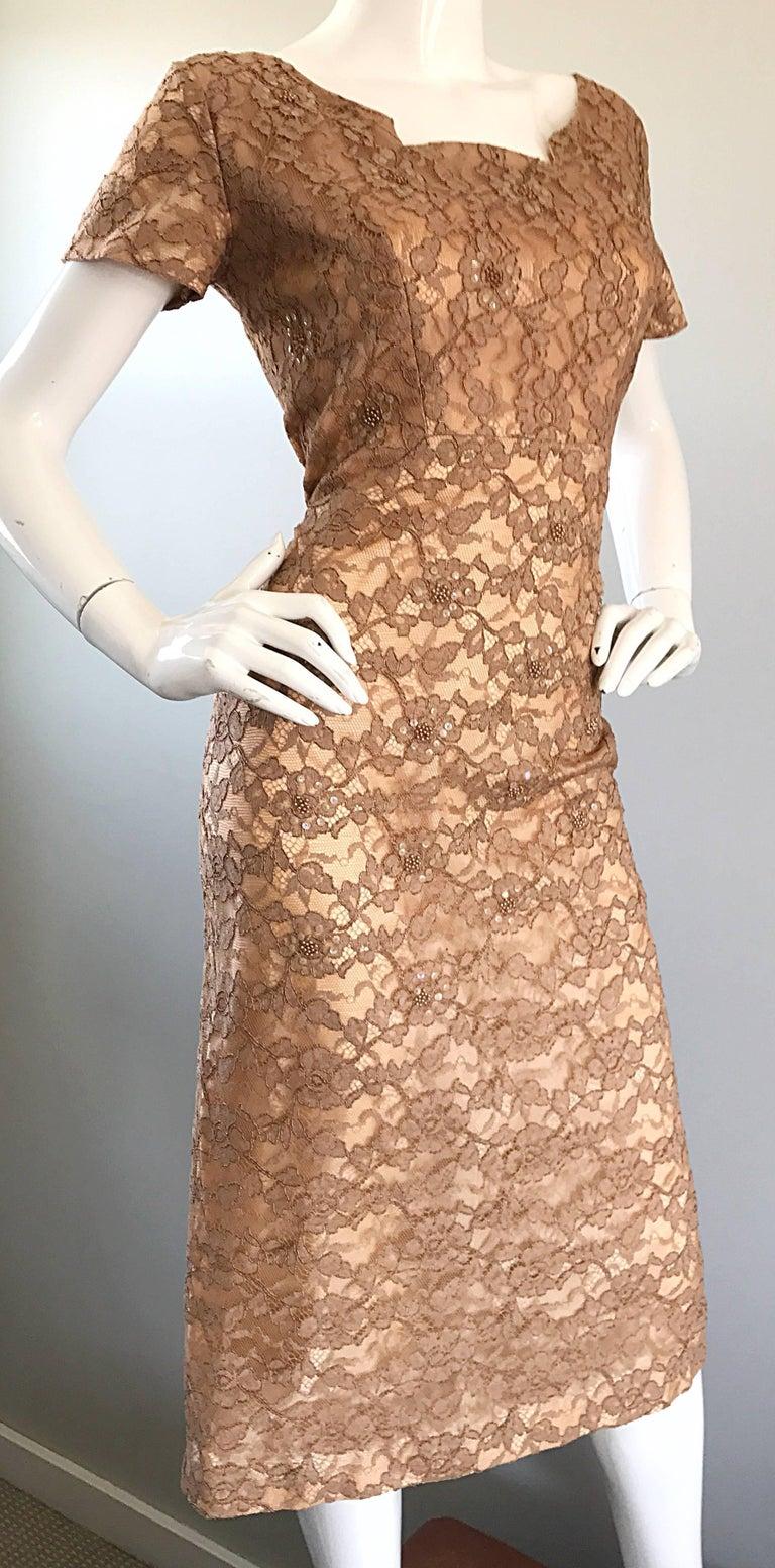 Gorgeous 1950s Demi Couture Tan Beige Nude Silk Lace Sequins 50s Vintage Dress 1