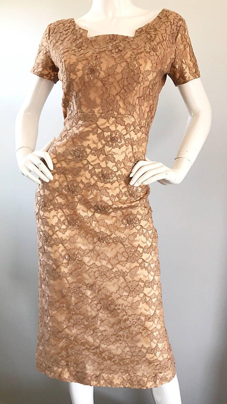 Gorgeous 1950s Demi Couture Tan Beige Nude Silk Lace Sequins 50s Vintage Dress 2