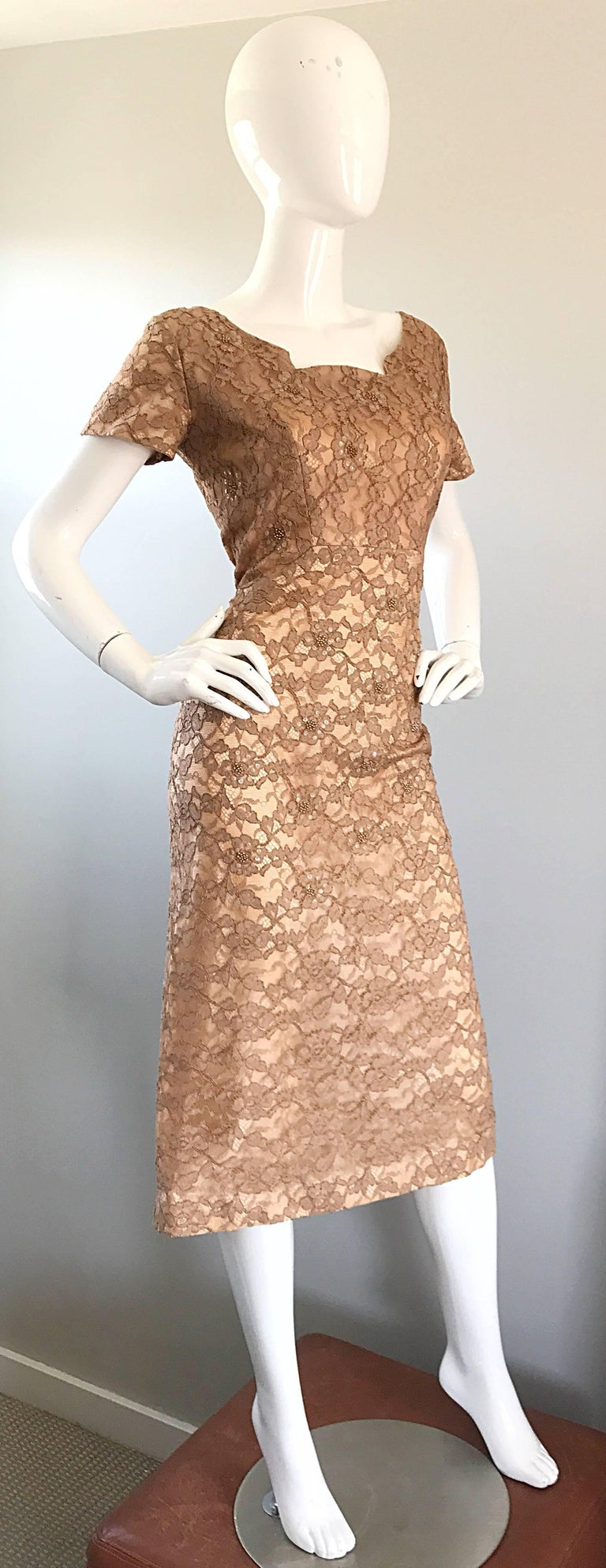 Gorgeous 1950s Demi Couture Tan Beige Nude Silk Lace Sequins 50s Vintage Dress 3