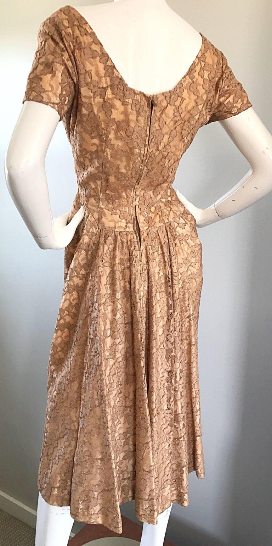 Gorgeous 1950s Demi Couture Tan Beige Nude Silk Lace Sequins 50s Vintage Dress 4