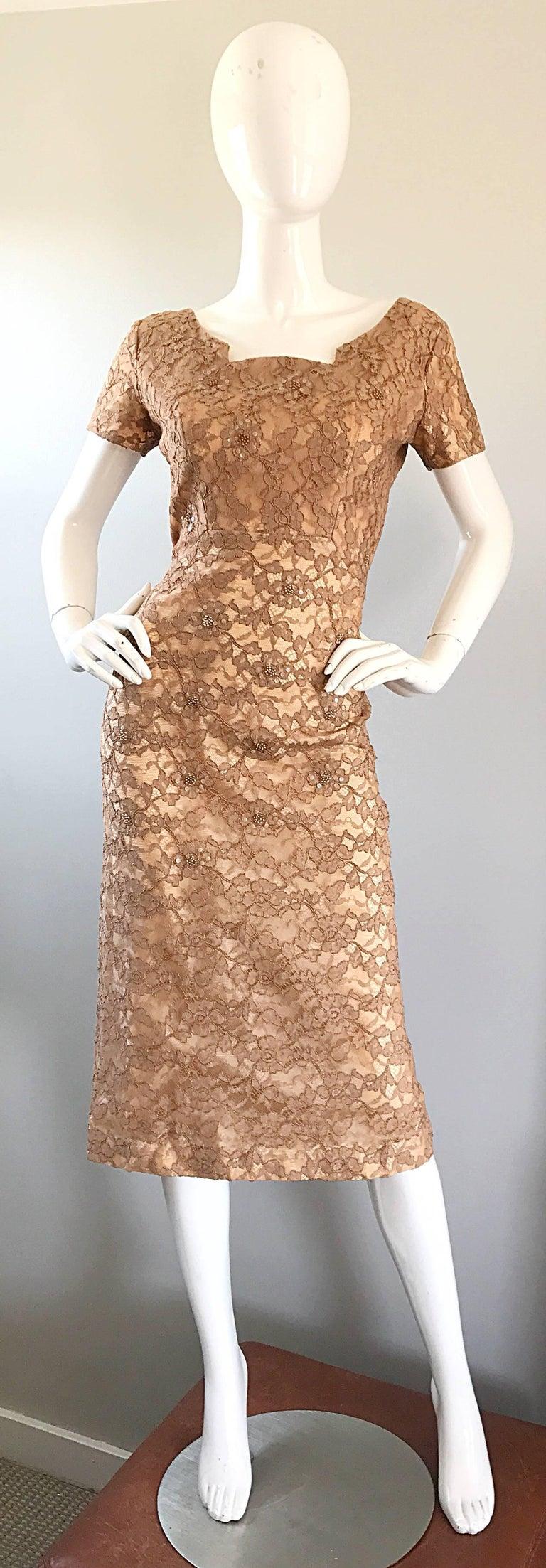 Gorgeous 1950s Demi Couture Tan Beige Nude Silk Lace Sequins 50s Vintage Dress 5