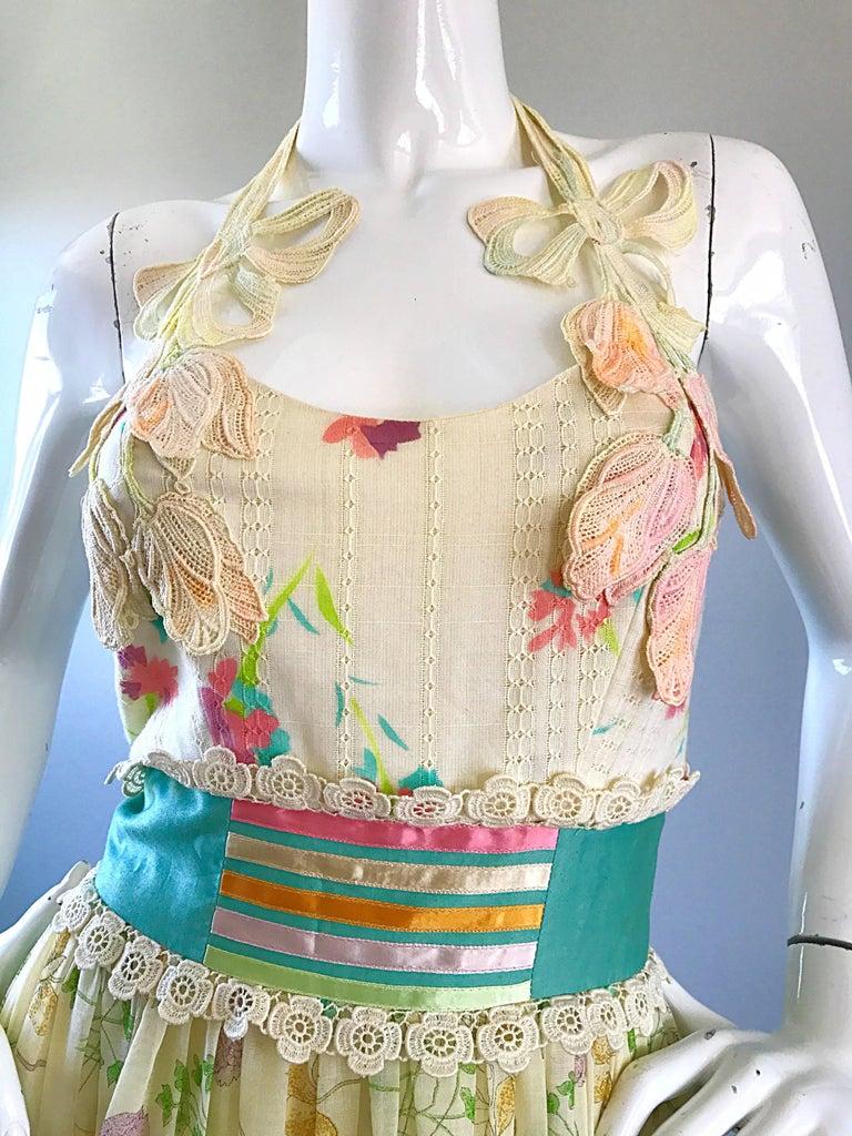 Beige Giorgio di Sant Angelo 1970s Rare Colorful Cotton Voile Vintage 70s Maxi Dress For Sale