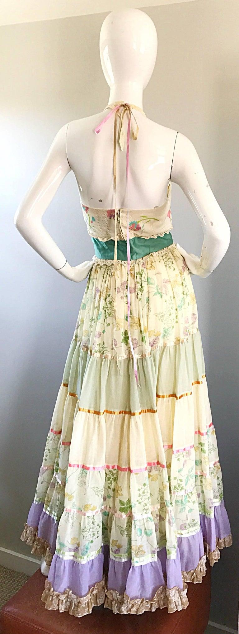 Giorgio di Sant Angelo Colorful Cotton Voile 70s Couture Maxi Dress Gown  In Excellent Condition For Sale In Chicago, IL