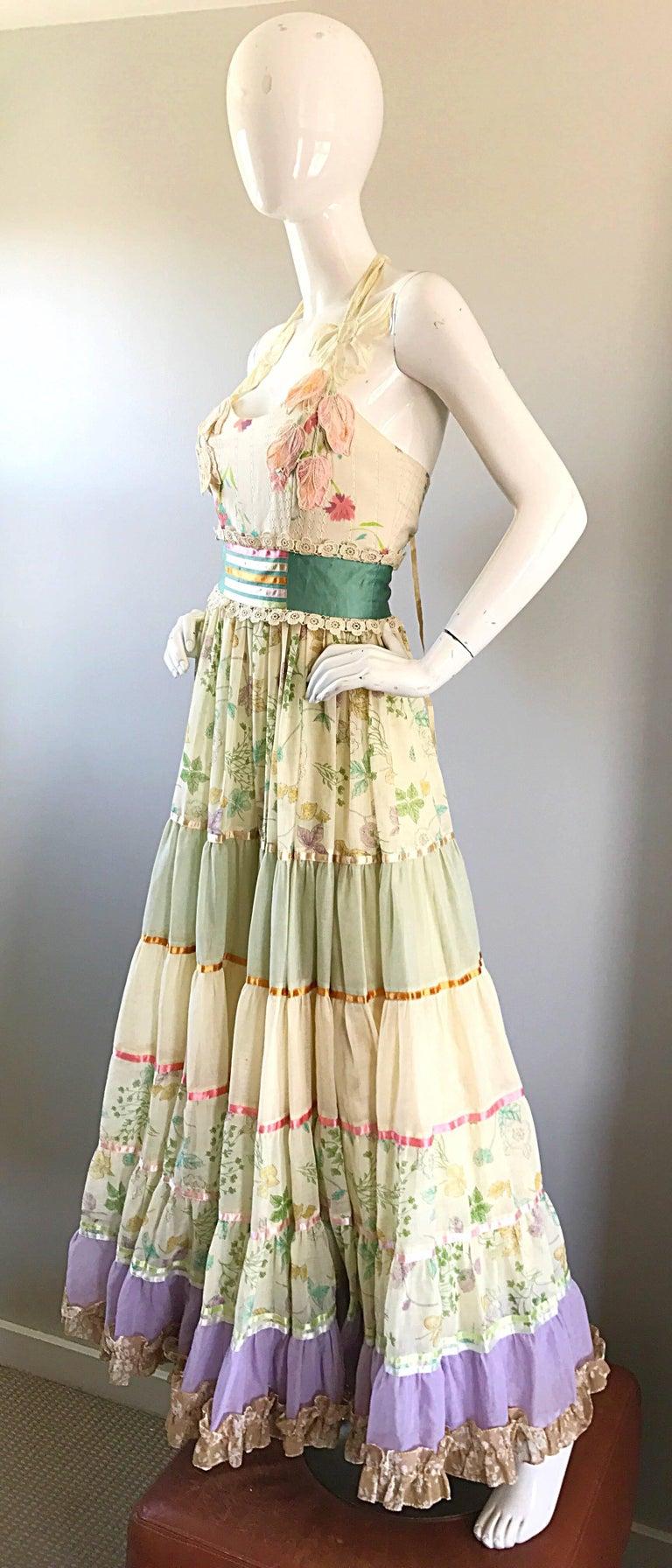 Women's Giorgio di Sant Angelo Colorful Cotton Voile 70s Couture Maxi Dress Gown  For Sale