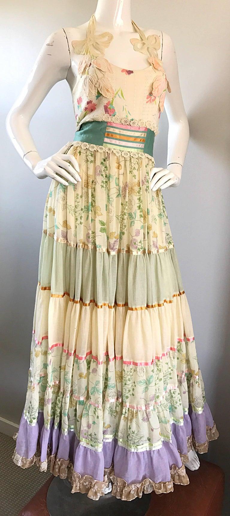 Giorgio di Sant Angelo Colorful Cotton Voile 70s Couture Maxi Dress Gown  For Sale 2
