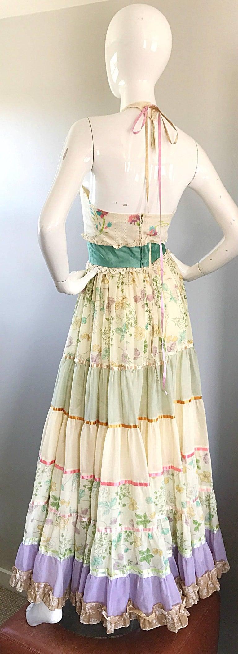 Giorgio di Sant Angelo Colorful Cotton Voile 70s Couture Maxi Dress Gown  For Sale 1