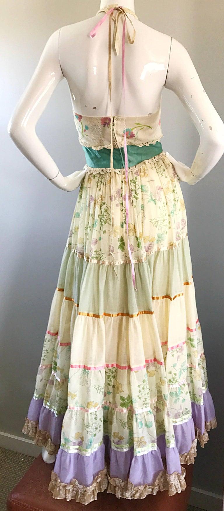 Giorgio di Sant Angelo Colorful Cotton Voile 70s Couture Maxi Dress Gown  For Sale 3