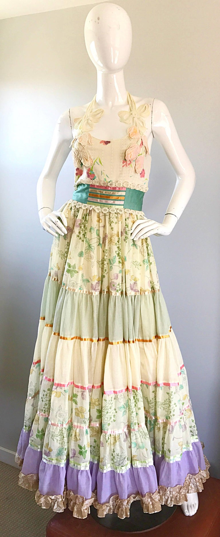 Giorgio di Sant Angelo Colorful Cotton Voile 70s Couture Maxi Dress Gown  For Sale 4