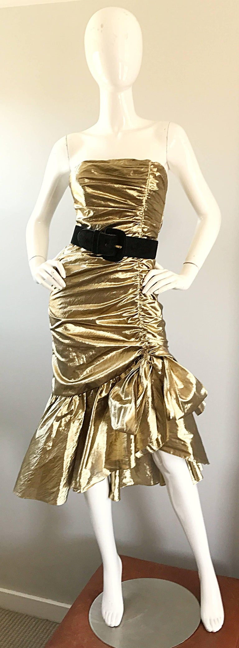 Amazing 1980s Gold Lame Avant Garde 80s Vintage Cocktail Asymmetrical Bow Dress  In Excellent Condition For Sale In Chicago, IL