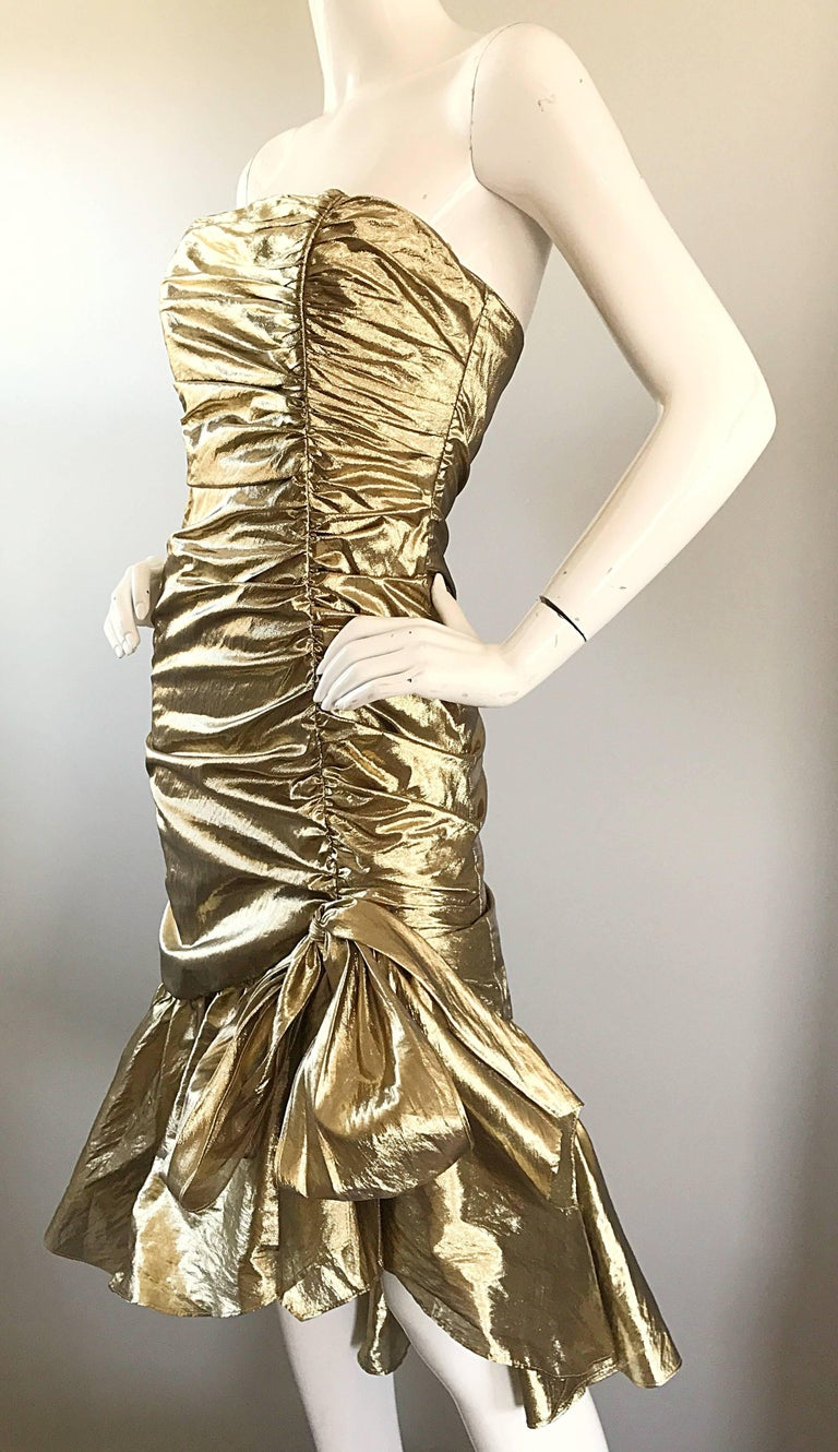 Women's Amazing 1980s Gold Lame Avant Garde 80s Vintage Cocktail Asymmetrical Bow Dress  For Sale