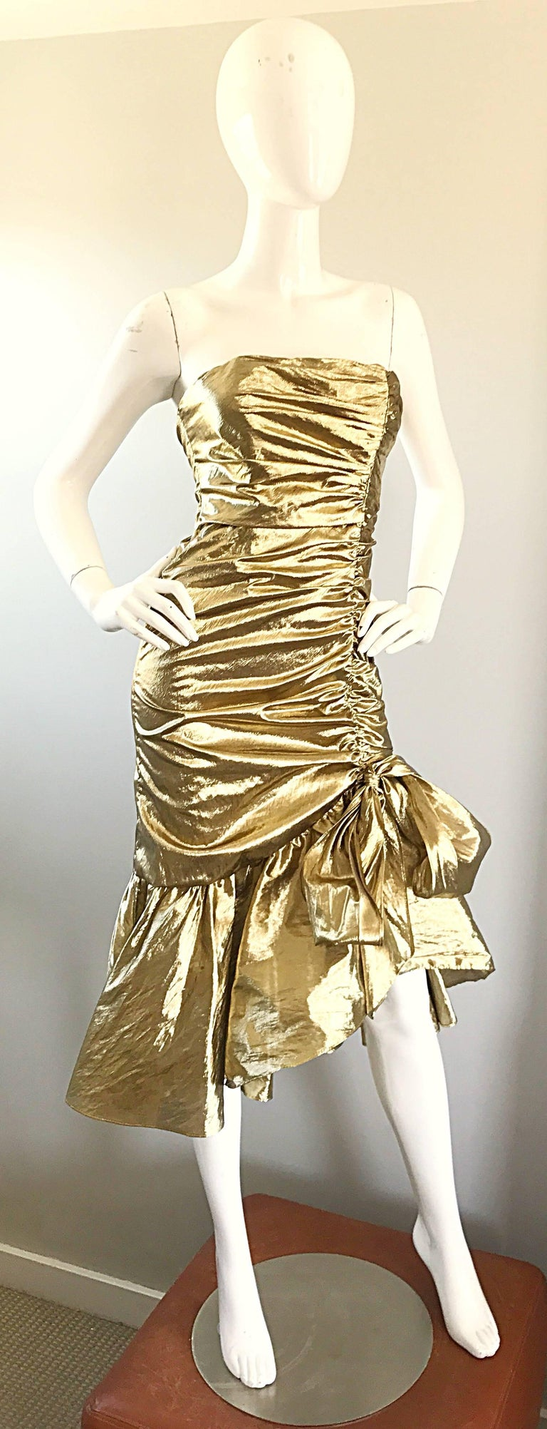 Amazing 1980s Gold Lame Avant Garde 80s Vintage Cocktail Asymmetrical Bow Dress  For Sale 1