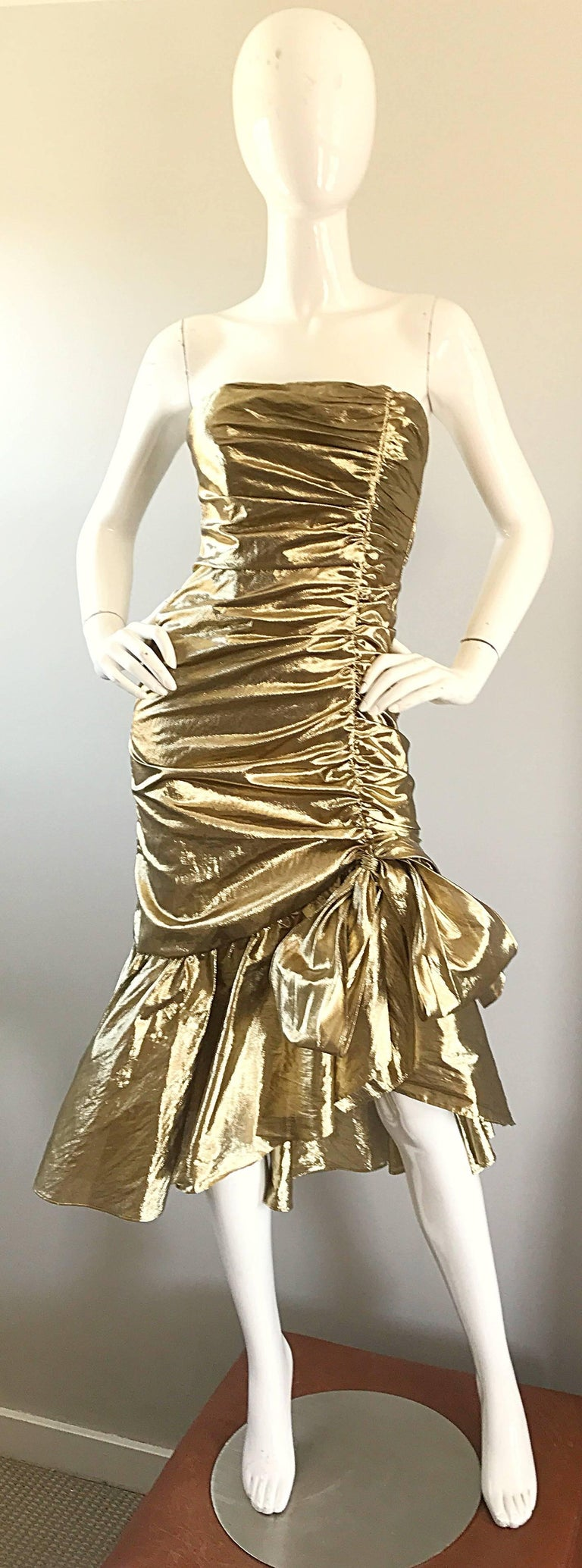 Amazing 1980s Gold Lame Avant Garde 80s Vintage Cocktail Asymmetrical Bow Dress  For Sale 5
