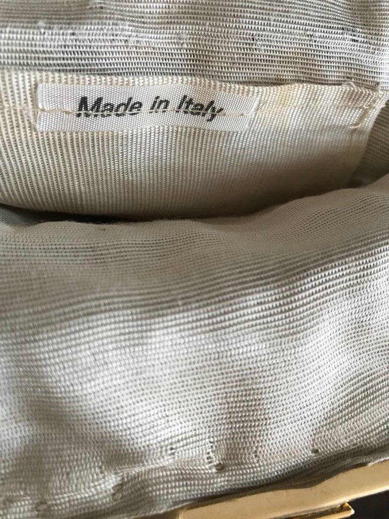 1970s Italian Ivory + Brown Hand Crochet Gold Chain Boho Vintage Shoulder Bag  For Sale 4
