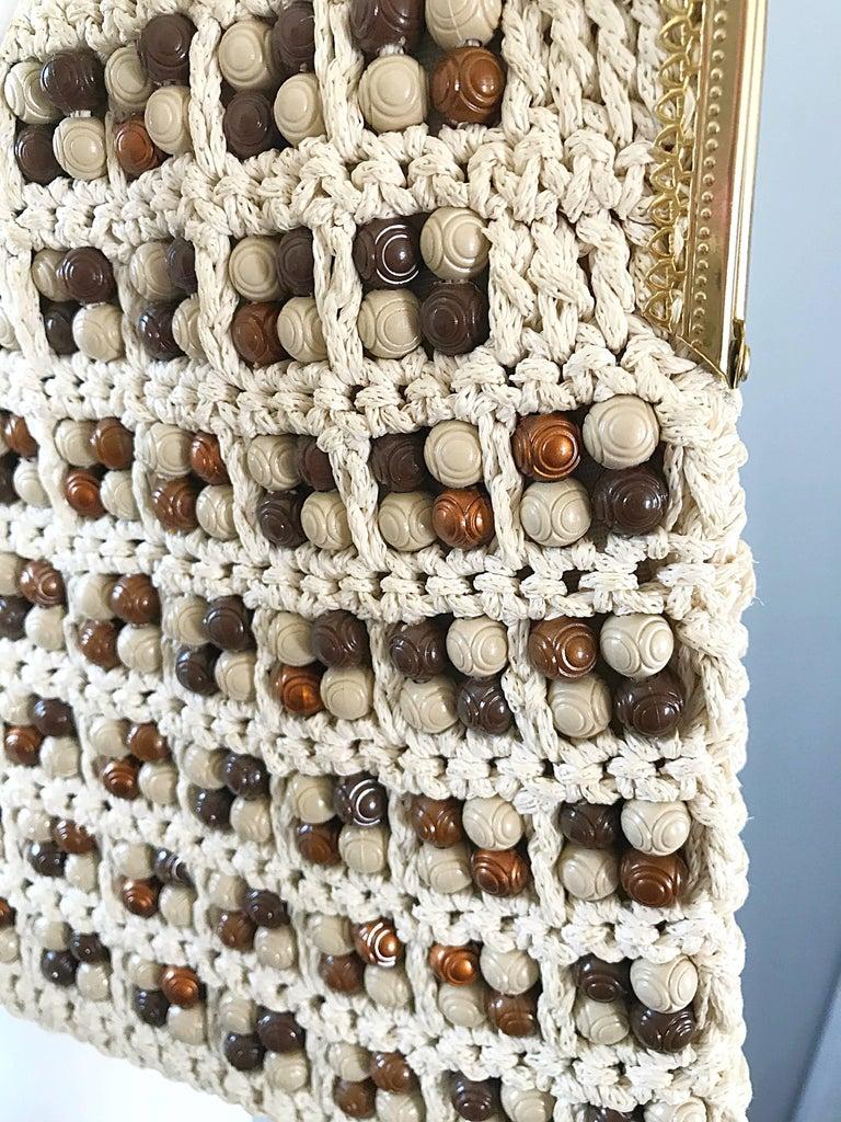 Beige 1970s Italian Ivory + Brown Hand Crochet Gold Chain Boho Vintage Shoulder Bag  For Sale