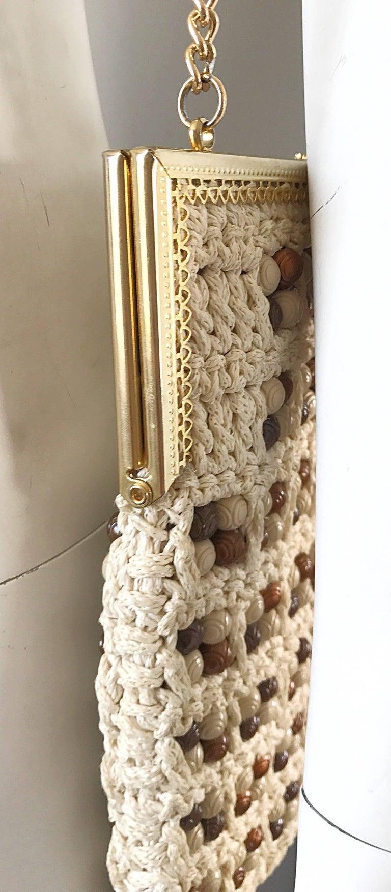Women's 1970s Italian Ivory + Brown Hand Crochet Gold Chain Boho Vintage Shoulder Bag  For Sale