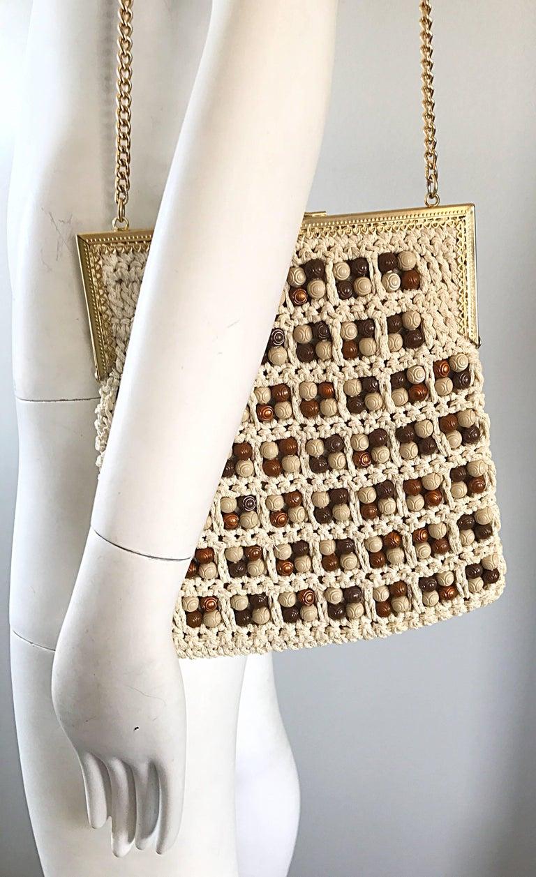 1970s Italian Ivory + Brown Hand Crochet Gold Chain Boho Vintage Shoulder Bag  For Sale 1