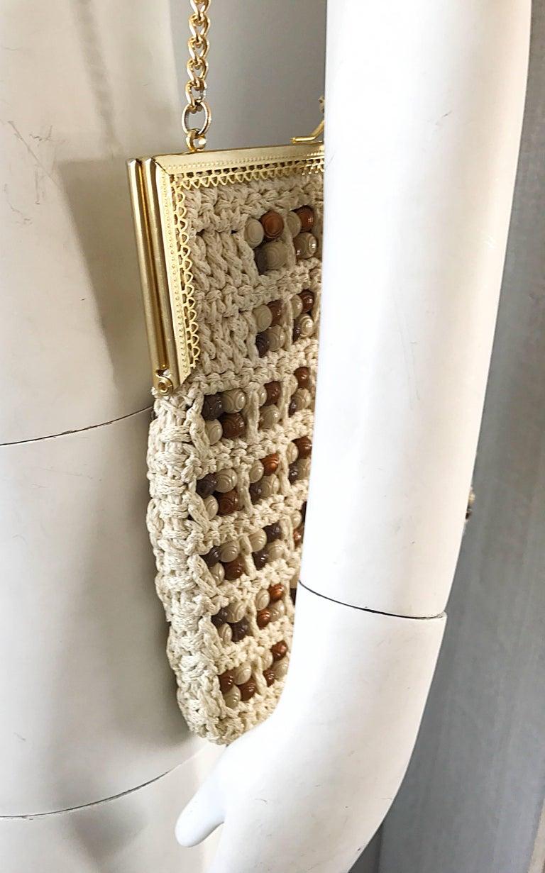 1970s Italian Ivory + Brown Hand Crochet Gold Chain Boho Vintage Shoulder Bag  For Sale 2