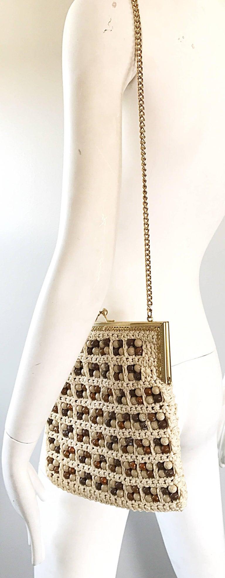 1970s Italian Ivory + Brown Hand Crochet Gold Chain Boho Vintage Shoulder Bag  For Sale 3
