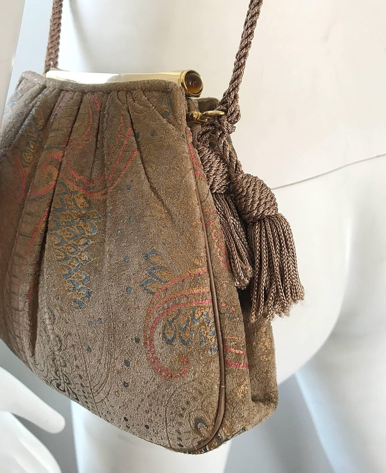 Beautiful Vintage Judith Leiber Hand Painted Taupe Beige Tan Paisley Evening Bag For Sale 2