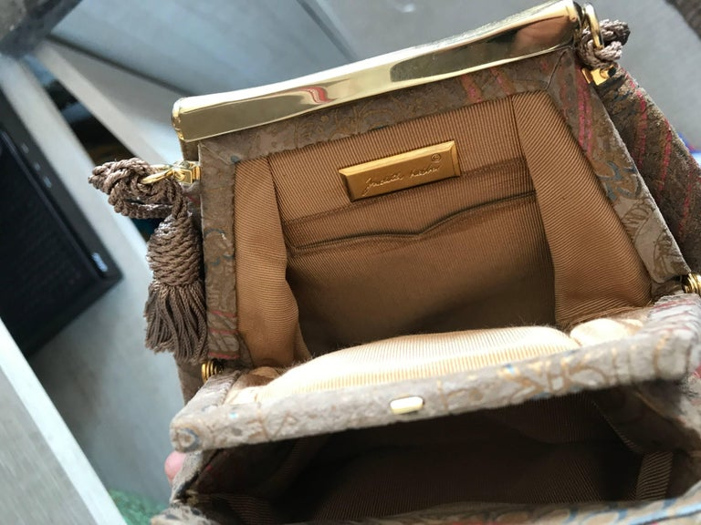 Beautiful Vintage Judith Leiber Hand Painted Taupe Beige Tan Paisley Evening Bag For Sale 4