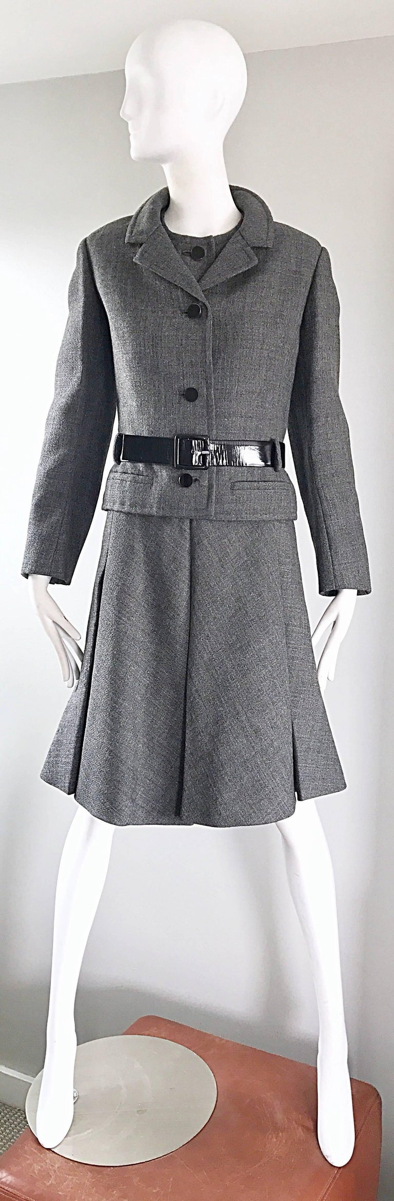 Gray Nina Ricci Haute Couture Vintage Grey Wool Dress and Jacket Ensemble, 1960s   For Sale