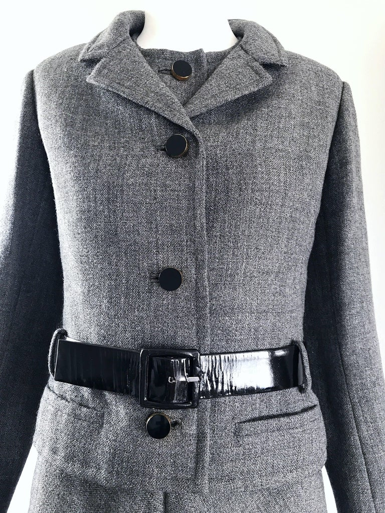 Nina Ricci Haute Couture Vintage Grey Wool Dress and Jacket Ensemble, 1960s   In Excellent Condition For Sale In Chicago, IL