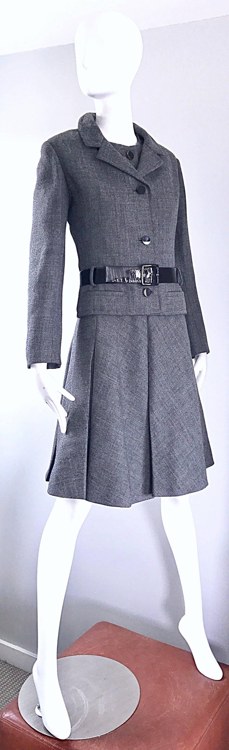 Nina Ricci Haute Couture Vintage Grey Wool Dress and Jacket Ensemble, 1960s   For Sale 1