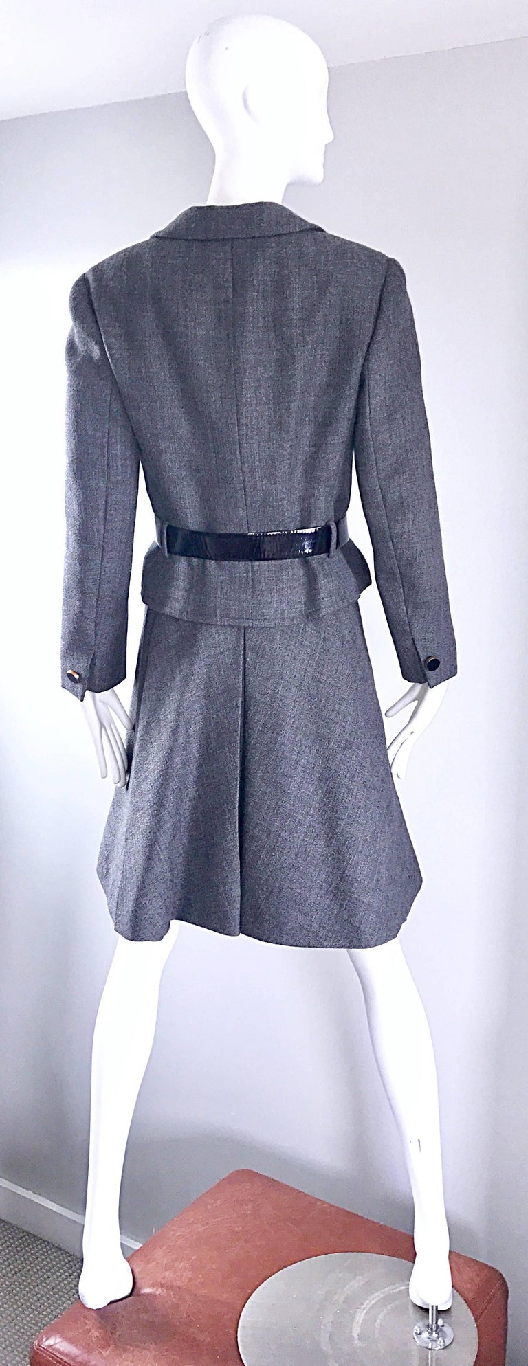 Nina Ricci Haute Couture Vintage Grey Wool Dress and Jacket Ensemble, 1960s   For Sale 2