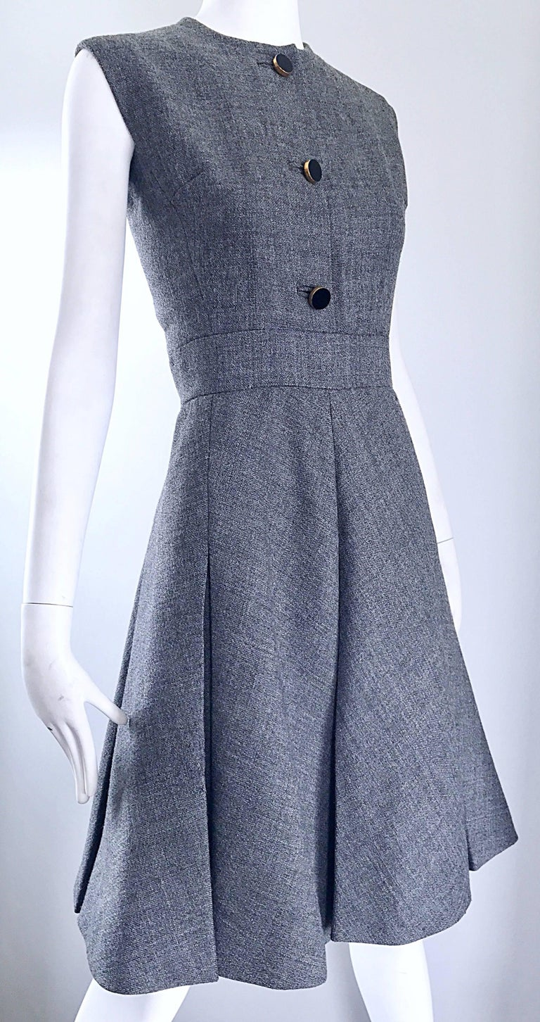 Nina Ricci Haute Couture Vintage Grey Wool Dress and Jacket Ensemble, 1960s   For Sale 3