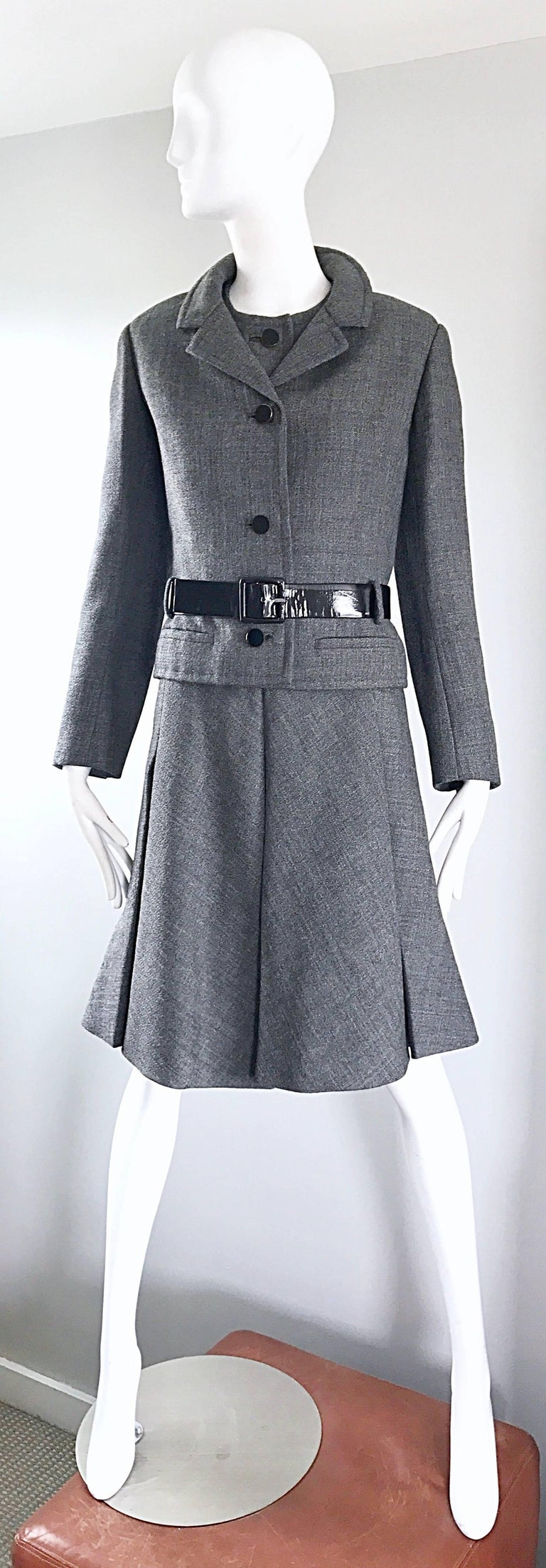 Nina Ricci Haute Couture Vintage Grey Wool Dress and Jacket Ensemble, 1960s   For Sale 4