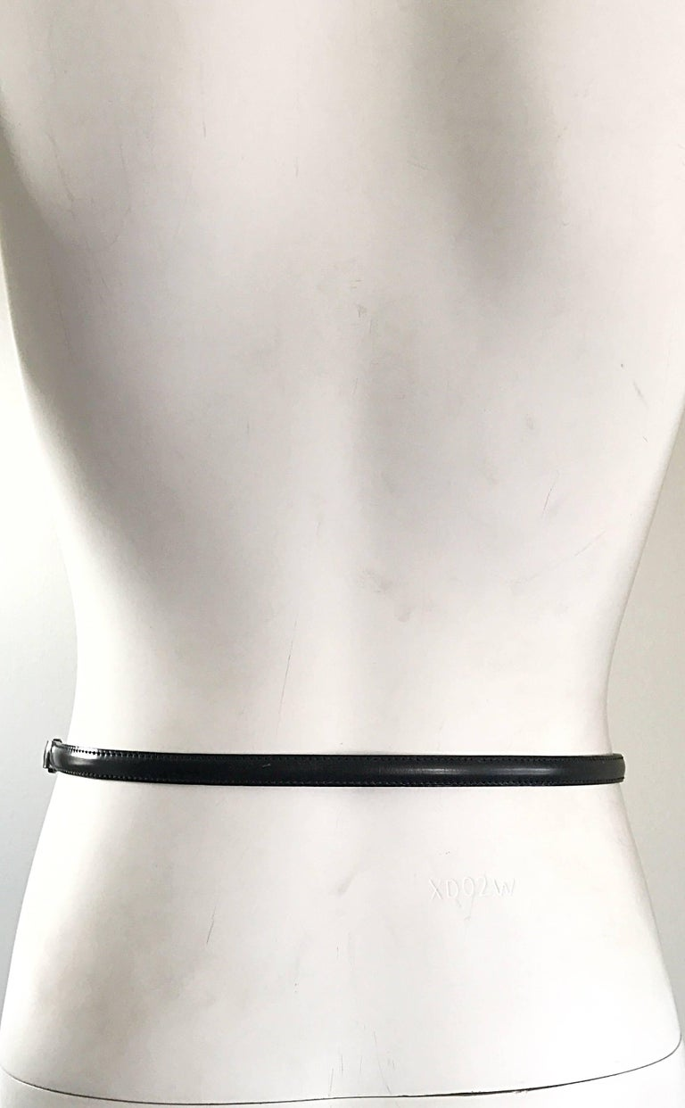 John Galliano for Christian Dior Black + Gunmetal Late 1990s Skinny Vintage Belt For Sale 2