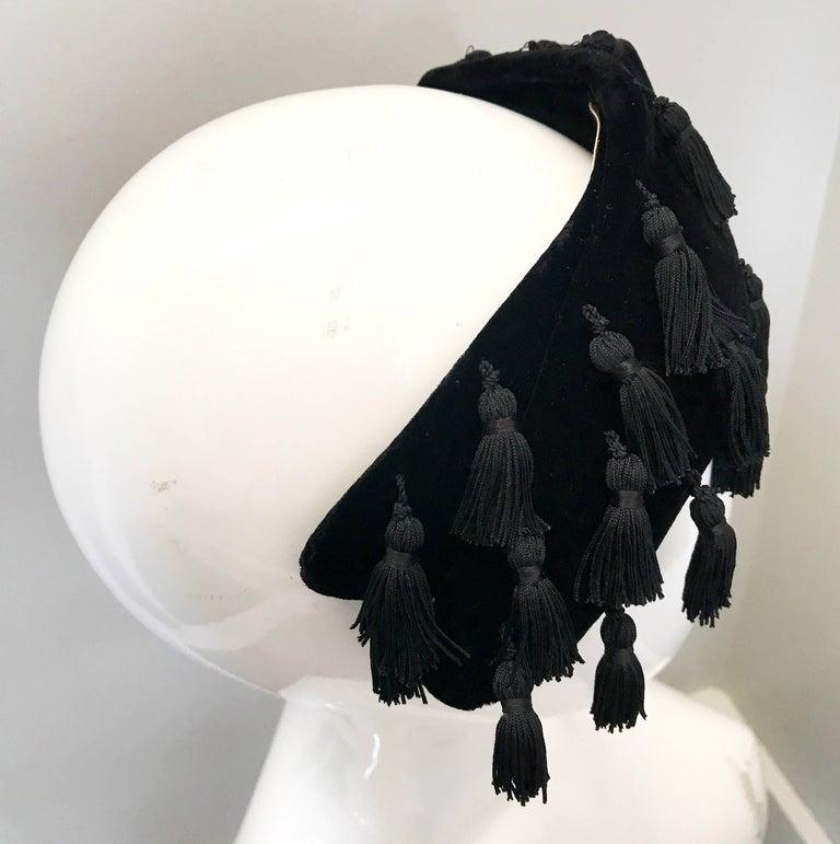 Women's 1950s Neiman Marcus Black Velvet Tassels Vintage 50s Half Hat Fascinator  For Sale