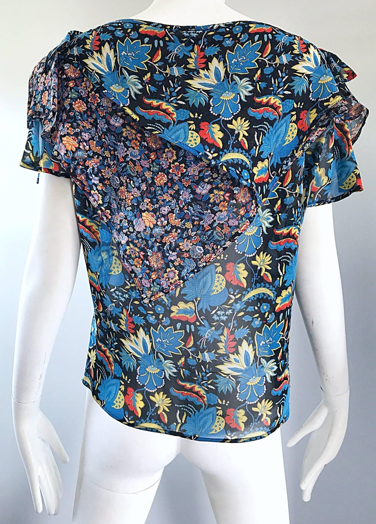 Rare 1970s Gianni Versace Cold Shoulder Boho Draped Vintage 70s Silk Blouse Top In Excellent Condition For Sale In Chicago, IL