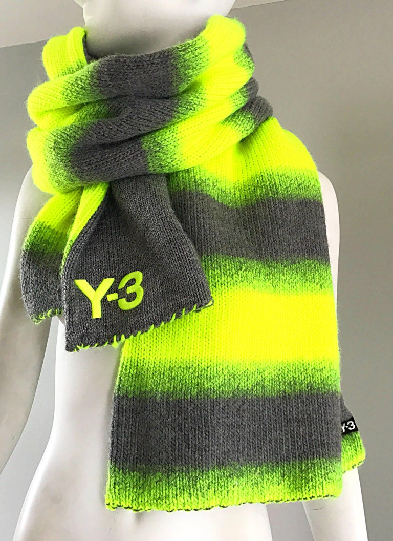 Unisex YHOJI YAMAMOTO Y-3 bright neon tennis ball yellow and gray oversize wool blend reversible scarf! One side features neon yellow and gray stripes, while the other side is a solid gray. Super soft wool and acrylic blend.  The perfect everyday