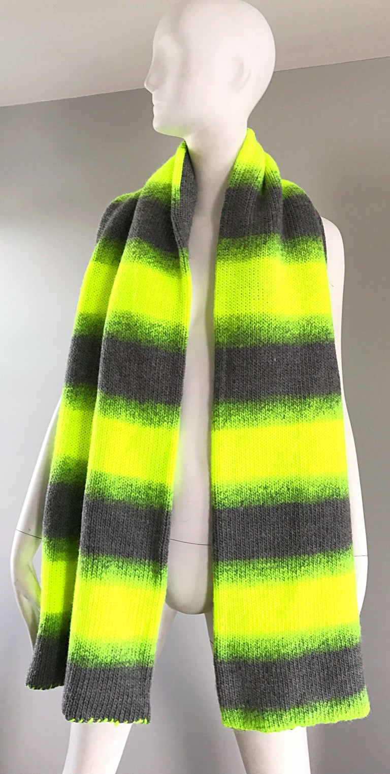 Yhjoji Yamamoto Y-3 Unisex Neon Yellow + Grey Oversized Wool Reversible Scarf In Excellent Condition For Sale In San Francisco, CA