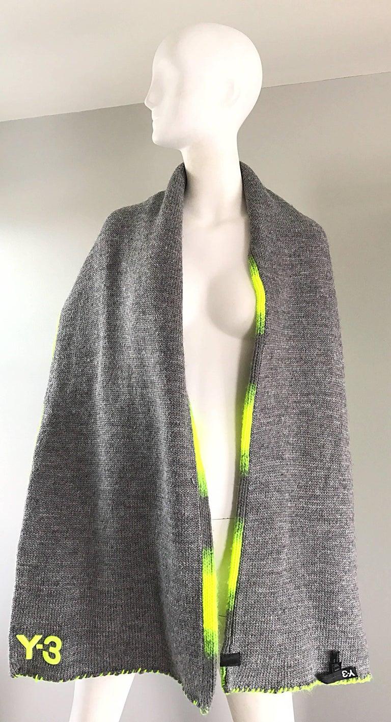 Women's or Men's Yhjoji Yamamoto Y-3 Unisex Neon Yellow + Grey Oversized Wool Reversible Scarf For Sale