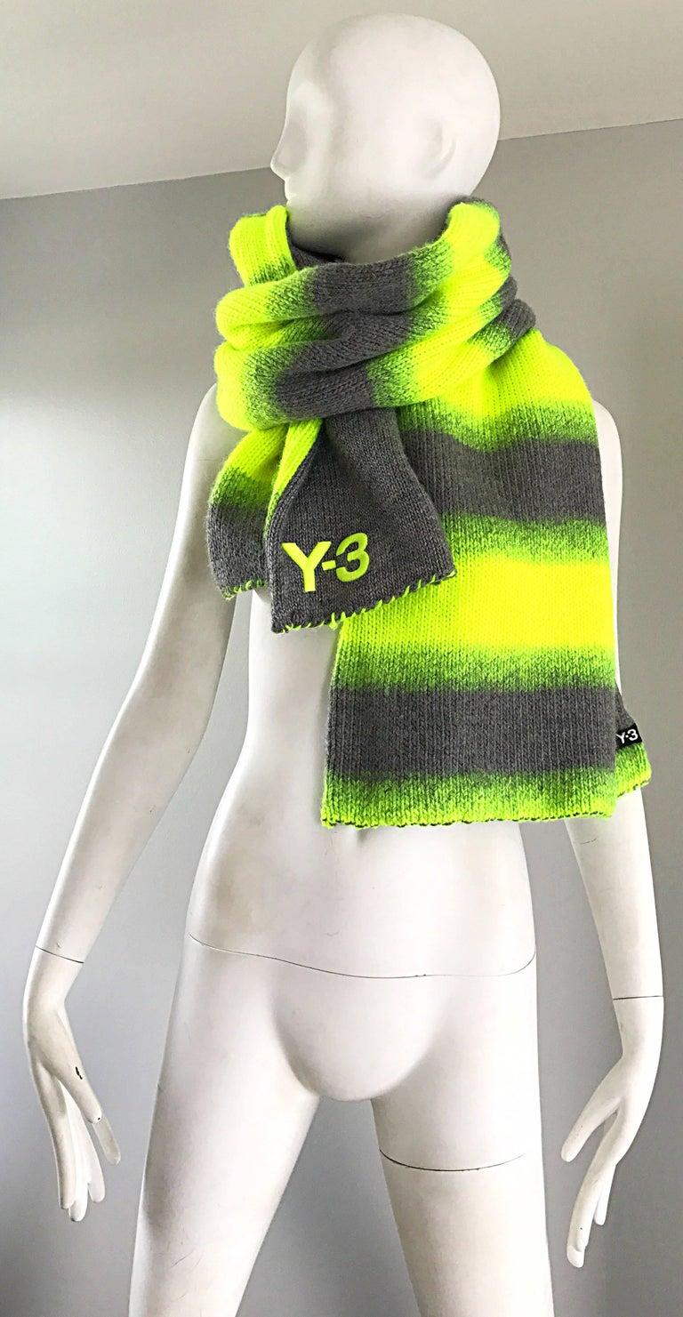 Yhjoji Yamamoto Y-3 Unisex Neon Yellow + Grey Oversized Wool Reversible Scarf For Sale 1