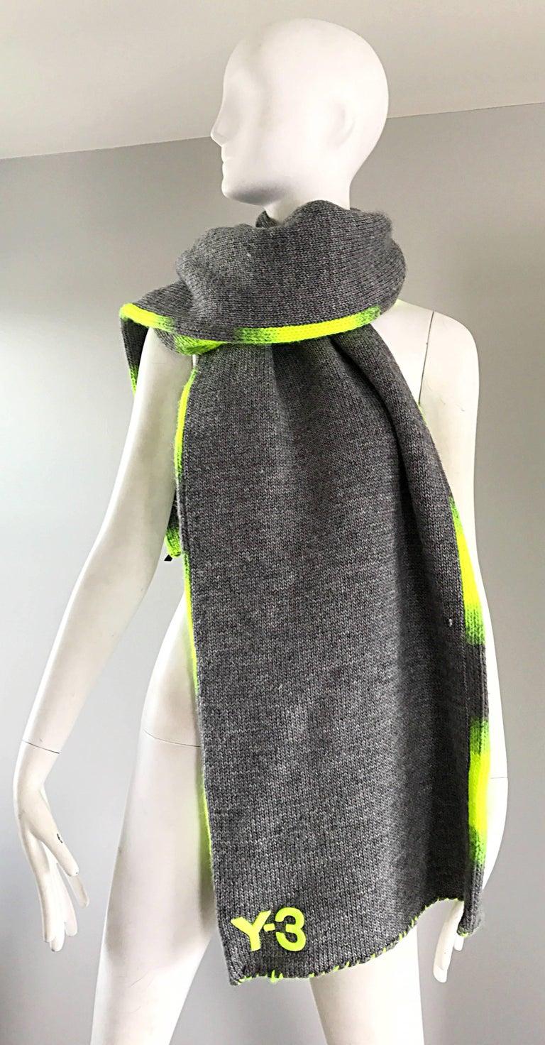 Yhjoji Yamamoto Y-3 Unisex Neon Yellow + Grey Oversized Wool Reversible Scarf For Sale 2