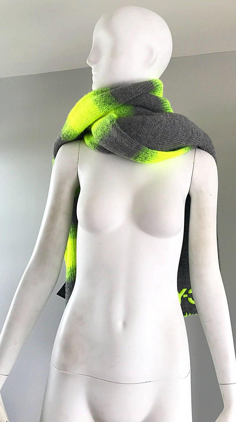 Yhjoji Yamamoto Y-3 Unisex Neon Yellow + Grey Oversized Wool Reversible Scarf For Sale 3