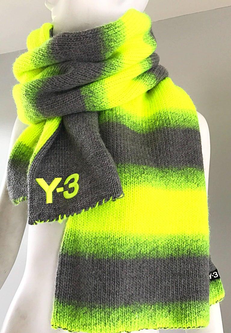 Yhjoji Yamamoto Y-3 Unisex Neon Yellow + Grey Oversized Wool Reversible Scarf For Sale 4