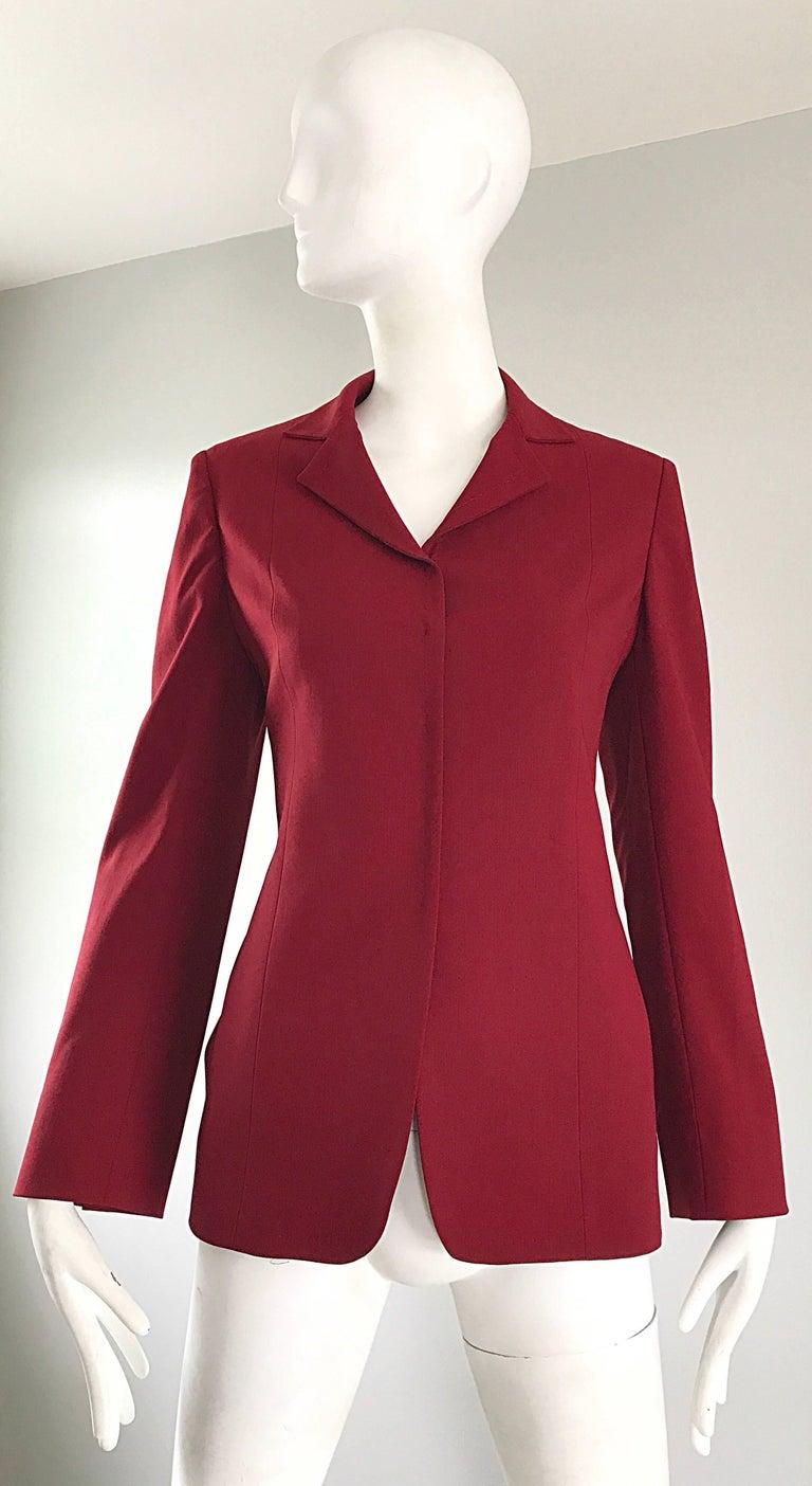 3f54c02d808bc Max Mara 1990s Crimson Red Size 4 Vintage 90s Tailored Wool Slim Blazer  Jacket For Sale